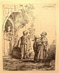 jacob and laban (three oriental figures) by rembrandt van rijn