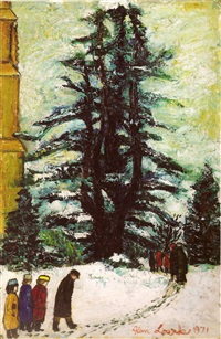 leaving church in the snow by alan lowndes