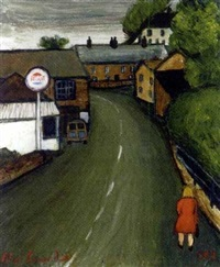 a cornish village with the artist's morris 1000 traveller by alan lowndes