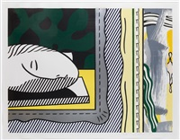 two paintings: sleeping muse by roy lichtenstein