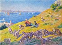 le berger observant saint-tropez et la mer, saint-tropez by maximilien luce