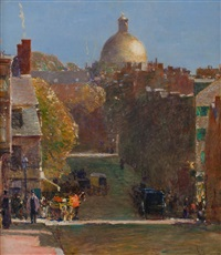 mount vernon street, boston, looking toward the state house by childe hassam