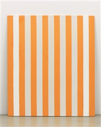 photo-souvenir : peinture acrylique blanche sur tissu rayé blanc et orange, décembre / december by daniel buren
