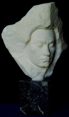 unique carrara marble bust of ludwig van beethoven by aldo bartelletty