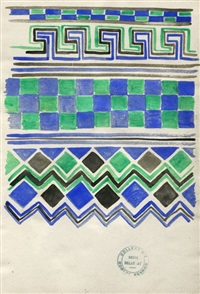 green, black, and blue border design by sonia delaunay-terk