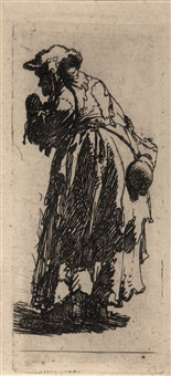 old beggar woman with a gourd by rembrandt van rijn