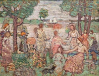 park scene with sailboats by maurice brazil prendergast