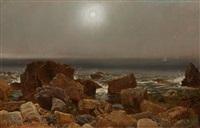 coastal scene in newport, rhode island by jasper francis cropsey