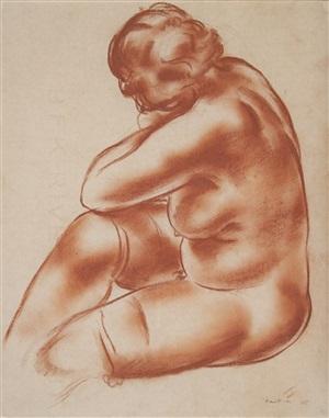 femme nue assise by jean fautrier
