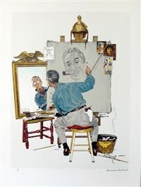 triple self-portrait by norman rockwell