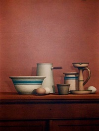 still life with eggs, candlestick and bowl by william h. bailey