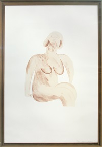 picture of a simple framed traditional nude drawing (from a hollywood collection series) by david hockney