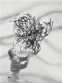untitled (lady holding energy pattern) by jim shaw