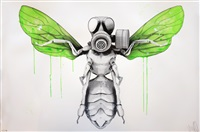 bee with protection mask by ludo
