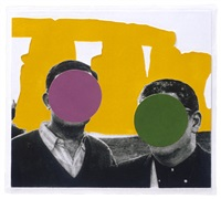 stonehenge (with two persons) yellow by john baldessari
