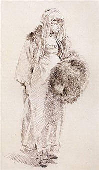 a young woman in russian costume, holding a fur muff by jean-baptiste le prince