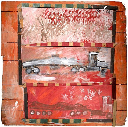 Purvis Young, Free Ridin, 1988, paint on paneling with collage-style interior frame