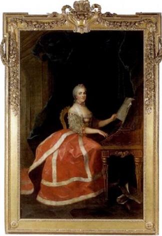 Portrait de Marie-Louise-Thérèse-Victoire de France dite Madame Victoire,  jouant du clavecin par Anne Baptiste Nivelon sur artnet