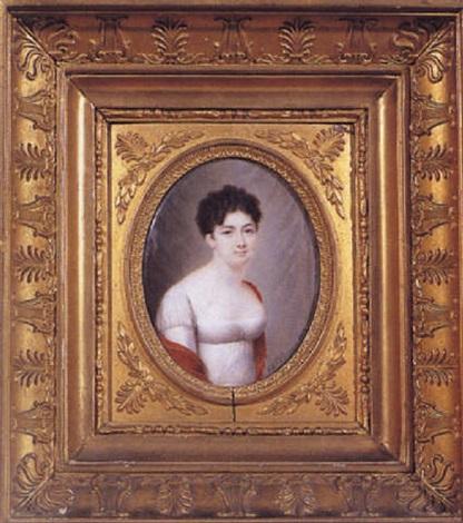 portrait en buste dune jeune femme by charles antoine claude berny douville