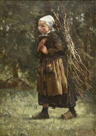 En hiver - François Coppée Edward-duncan-jeune-fille-au-fagot-de-bois