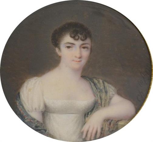 portrait de jeune femme en robe blanche ses épaules couvertes dun châle en cachemire dans les tons vert by charles antoine claude berny douville